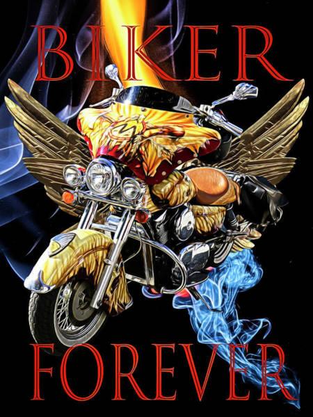 Digital Art - Biker Forever In Chrome by Debra and Dave Vanderlaan