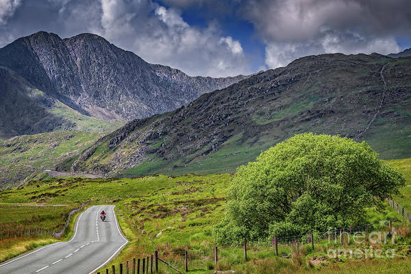 Wall Art - Photograph - Biker In Snowdonia Wales by Adrian Evans