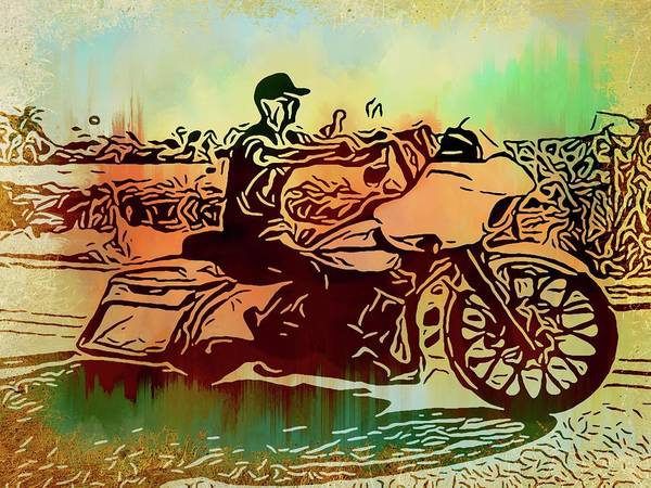 Daytona Bike Week Wall Art - Photograph - Biker On The Loop Abstracted by Alice Gipson