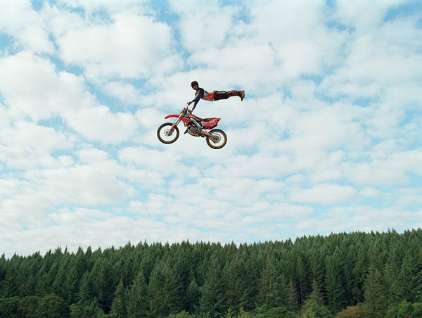 Motocross Photograph - Biker Performing Midair Stunt by Ty Downing
