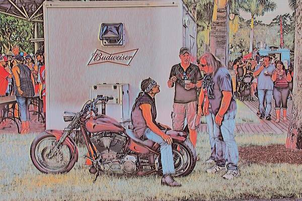 Sketch Holiday Photograph - Biker Talk by Don Columbus