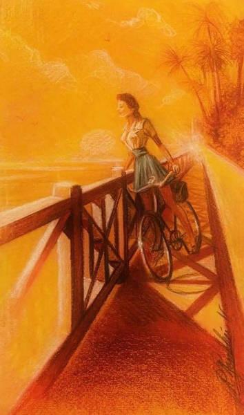 Sfumato Drawing - Biking With A View by Richard Remblier