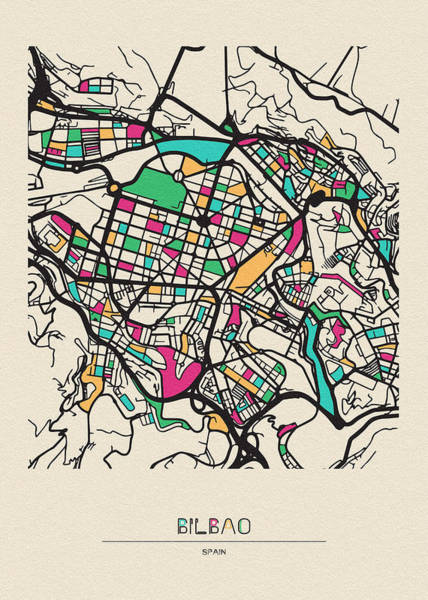 Drawing - Bilbao, Spain City Map by Inspirowl Design