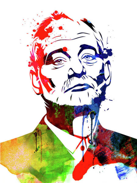 Wall Art - Mixed Media - Bill Murray Watercolor by Naxart Studio