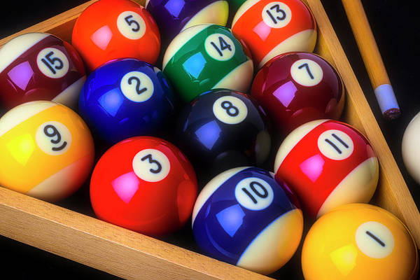 Photograph - Billiard Pool Balls Racked by Garry Gay
