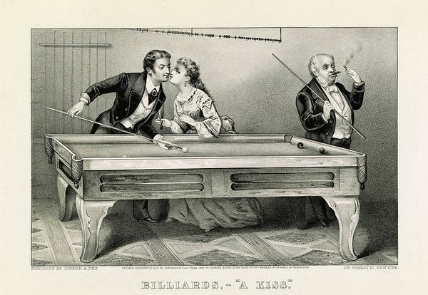 Wall Art - Painting - Billiards, A Kiss by American School