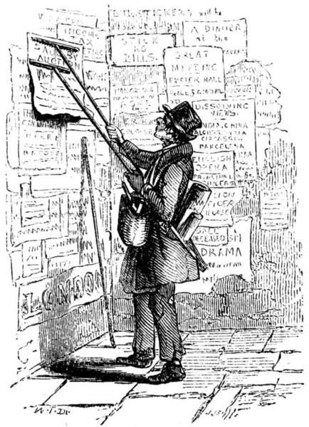 Wall Art - Photograph - Billposting An Advert In London, 1843 by Uig