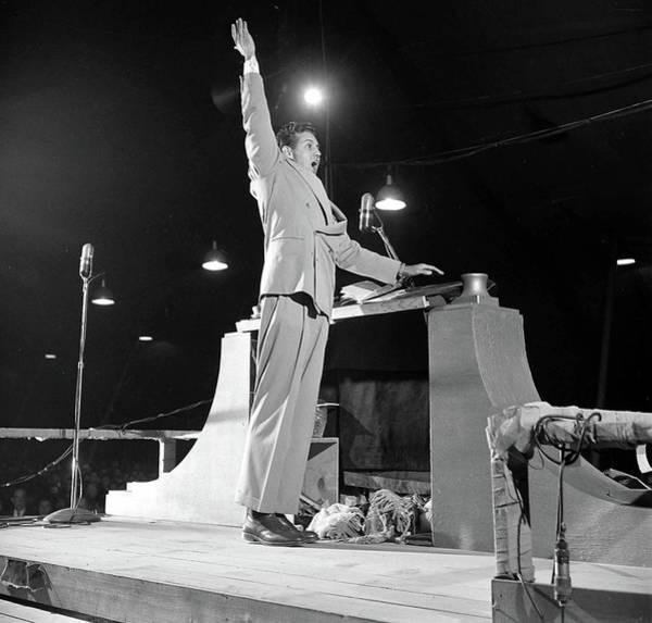 Photograph - Billy Graham Preaches by Loomis Dean