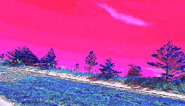 Wall Art - Digital Art - Biloxi Beach Trees In Pink And Blue by Marian Bell