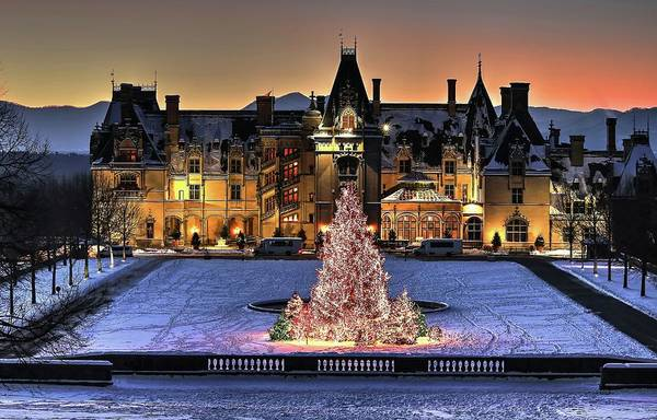 Biltmore Christmas Night All Covered In Snow Art Print