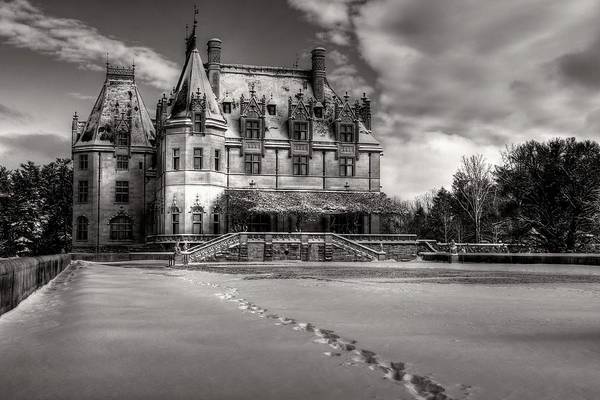 Photograph - Biltmore House From The Tea Room In Snow In Black And White by Carol Montoya