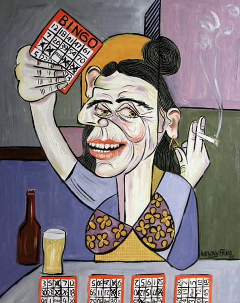 Painting - Bingo Lady by Anthony Falbo
