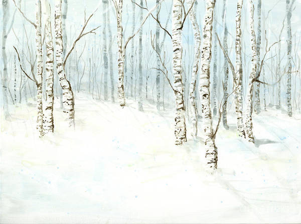 Wall Art - Painting - Birch Aspen Forest In Winter Snow by Audrey Jeanne Roberts