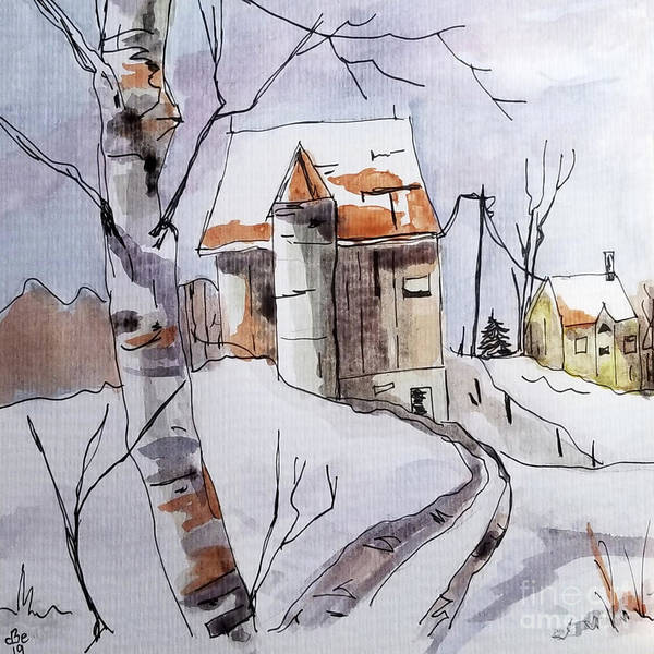Wall Art - Painting - Birch Barn by Diane E Berry