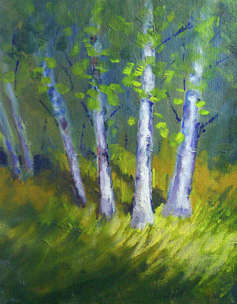Wall Art - Painting - Birch Light Landscape by Nancy Merkle