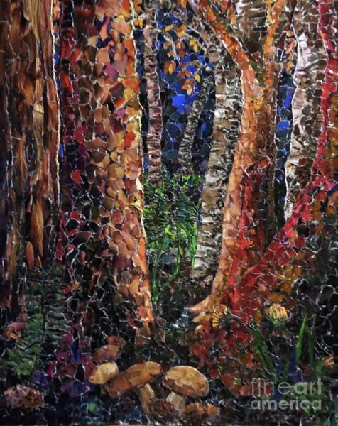 Wall Art - Mixed Media - Birch, Pine, And Boletus by Jodi-Ann Martineau