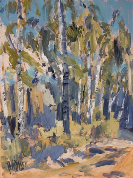 Wall Art - Painting - Birch Trees Along The Pond De Melle by Nop Briex