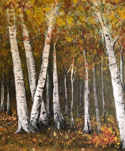 Wall Art - Painting - Birch Trees In Autumn by Jennifer Richardson
