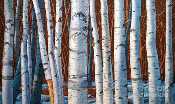 Painting - Birch Trees In Early Winter In Painting by Christopher Shellhammer