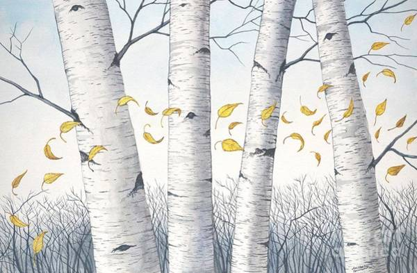 Painting - Birch Trees With Flowing Leaves In Watercolor by Christopher Shellhammer