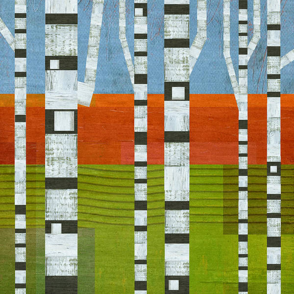 Graphic Digital Art - Birches With Olive And Orange 2 by Michelle Calkins