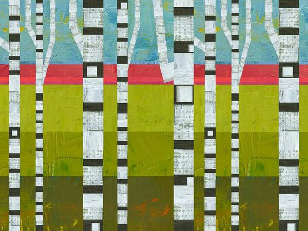 Graphic Digital Art - Birches With Pink And Green by Michelle Calkins