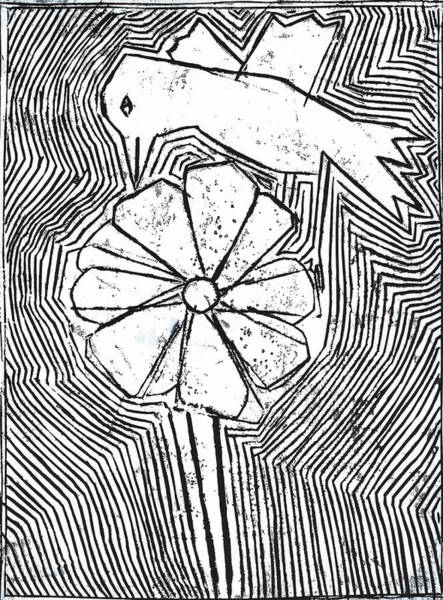 Relief - Bird And A White Flower by Artist Dot