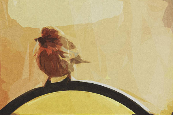 Wall Art - Digital Art - Bird Early Bird Perched Tilted by Draw Sly