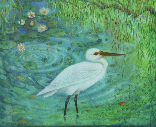Painting - Bird Fishing by Lynn Bywaters