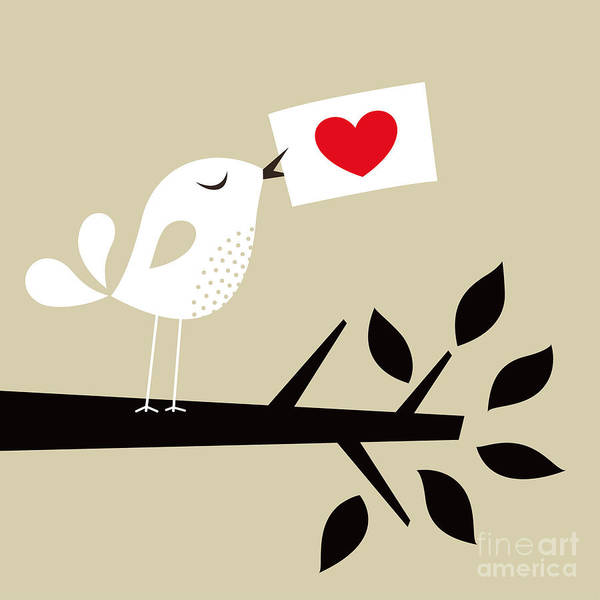 Note Wall Art - Digital Art - Bird Love Card by Vector-rgb