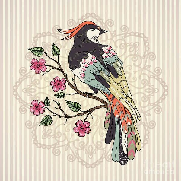 Wall Art - Digital Art - Bird On A Branch Vector Illustration by Maria Sem