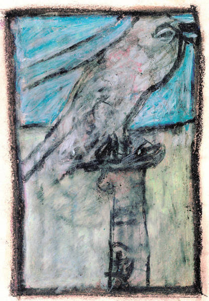 Drawing - Bird On A Fountain by Artist Dot