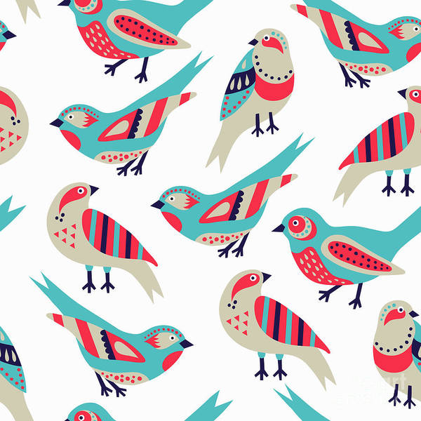 Wall Art - Digital Art - Bird Seamless Pattern by Texturis