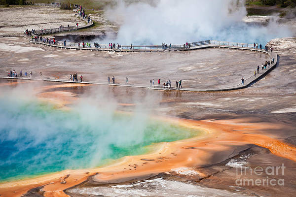 Wall Art - Photograph - Bird View Of Grand Prismatic Spring - by Berzina