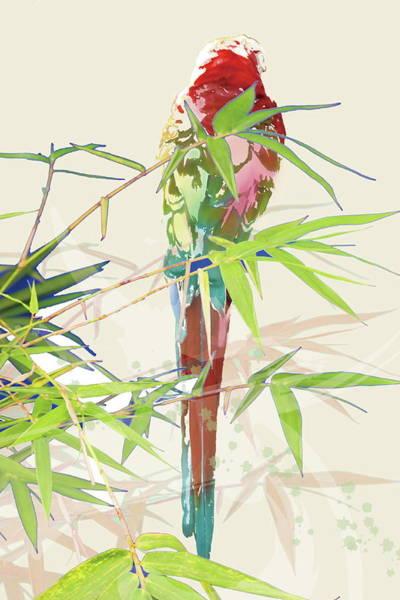 Bamboo Digital Art - Bird With Chinese Bamboo Leaves by Meg Takamura