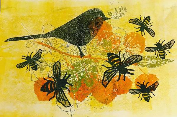 Engels Painting - Birds And Bees (monoprint On Paper) by Sarah Thompson-engels