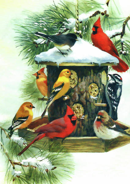 Digital Art - Birds At The Feeder by D Hackett