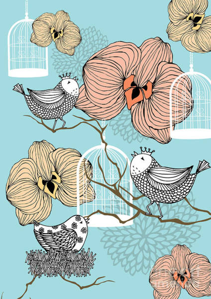 Wall Art - Digital Art - Birds, Birdcages And Flowers by Lyeyee