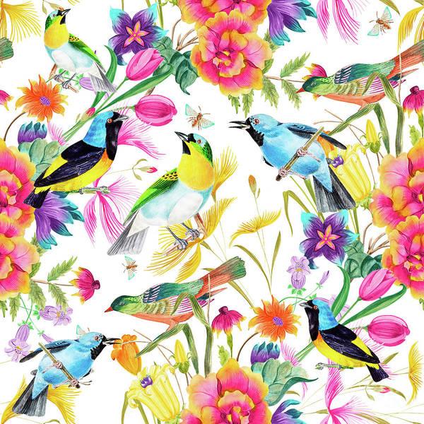 Digital Art - Birds Colourful Floral Motif by Sharon Mau