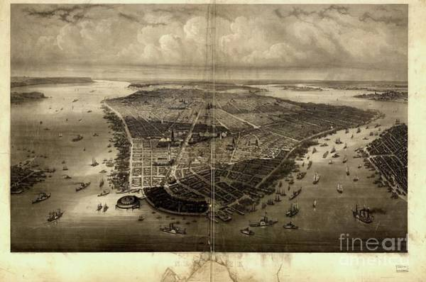 Battery D Drawing - Bird's-eye View Of New York City 1851  by Flavia Westerwelle