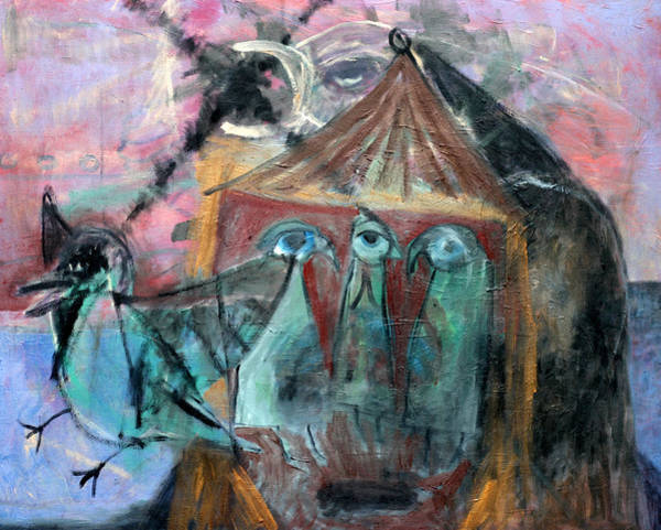 Painting - Birds In A Tent by Artist Dot