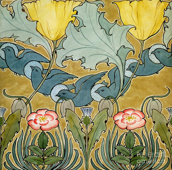 Wall Art - Painting - Birds In Flight Design by Charles Francis Annesley Voysey