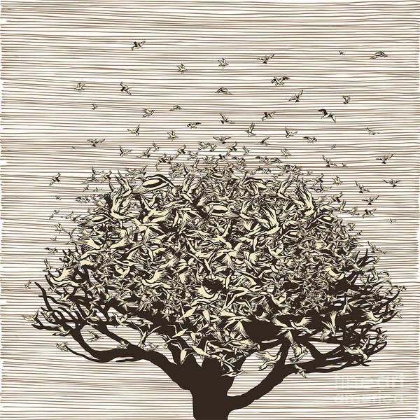 Wall Art - Digital Art - Birds Like Leaves On A Tree by Ryger