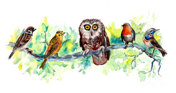 Wall Art - Digital Art - Birds Liner. Wildlife Banner by Marya Kutuzova