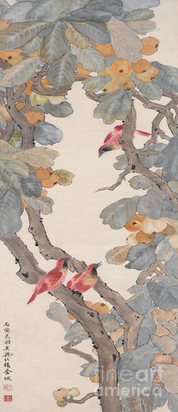 Wall Art - Painting - Birds Of Paradise In A Loquat Tree, 1926 by Jin Cheng