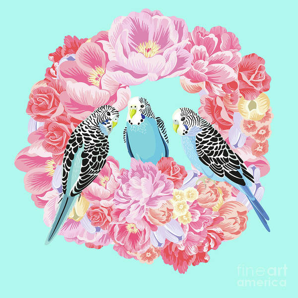 Wall Art - Photograph - Birds Of Paradise Parakeets Blue Budgie Pink Peonies Wreath by Sharon Mau