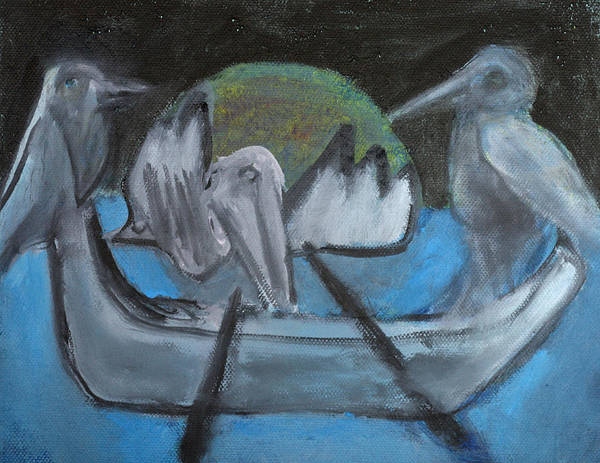 Painting - Birds On A Boat by Artist Dot