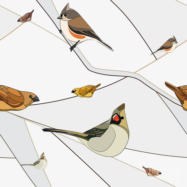 Wall Art - Digital Art - Birds On A Branch. Seamless Pattern by Viknik