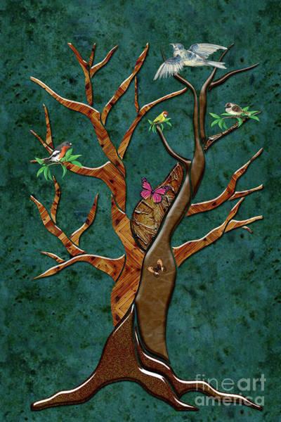 Digital Art - Birds On A Tree Drawing by Carlos Diaz