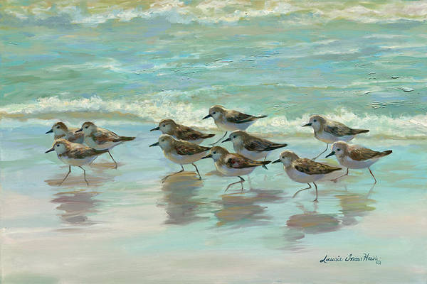 South Beach Painting - Birds On The Beach by Laurie Snow Hein